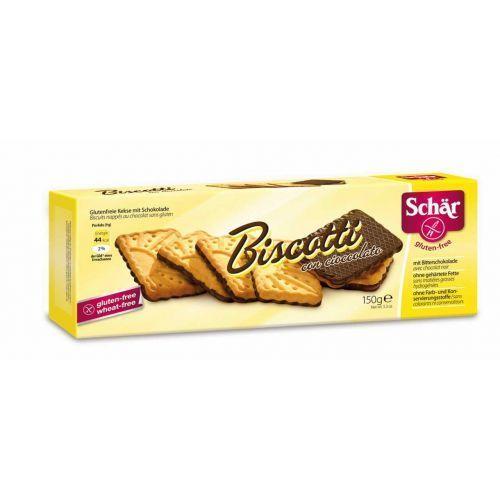 Schar Biscotti con cioccolato- herbatniki bezglutenowe w gorzk. czekoladzie 150g
