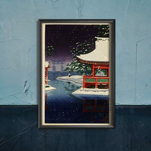 Vintageposteria.pl Plakat w stylu vintage plakat w stylu vintage śnieg w świątyni ginkakuji kawase