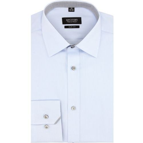 Koszula bexley 2662 długi rękaw slim fit niebieski marki Recman