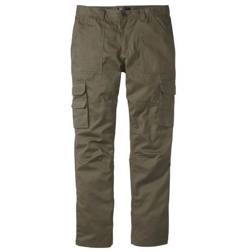 """Spodnie """"bojówki"""" z powłoką z teflonu Regular Fit Straight bonprix ciemnooliwkowy, kolor zielony"""