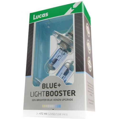żarówki samochodowe lightbooster h4 12v 60/55w +50% blue 2 sztuki marki Lucas