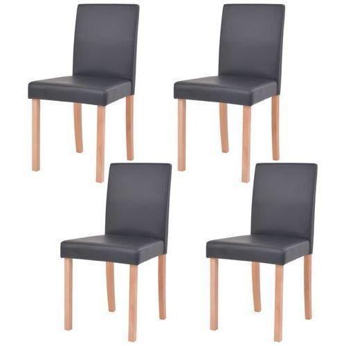 vidaXL Krzesła, 4 szt., sztuczna skóra, drewno bukowe, czarne, kolor czarny