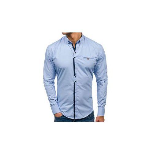 Koszula męska elegancka z długim rękawem błękitna Bolf 7720, kolor niebieski