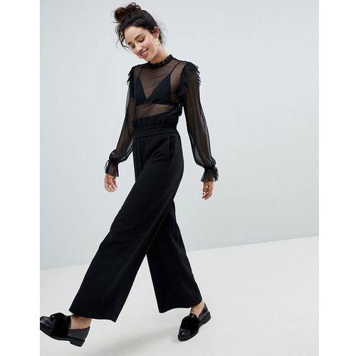 Monki high waistt wide leg trouser - black