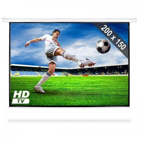 Frontstage elektryczny ekran projekcyjny rozwijany 200x150cm kino domowe hdtv 4:3