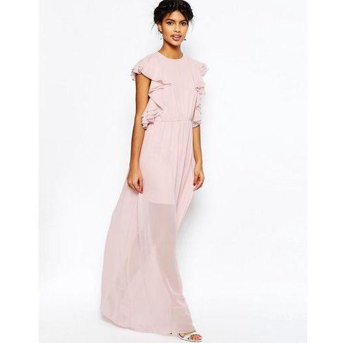 Ruffle Front Maxi Dress - Pink marki ASOS