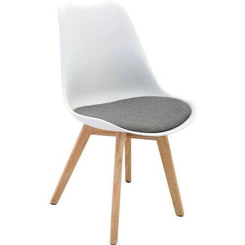 Regoline Białe nowoczesne drewniane krzesło z szarą poduszką - biały + szara poduszka