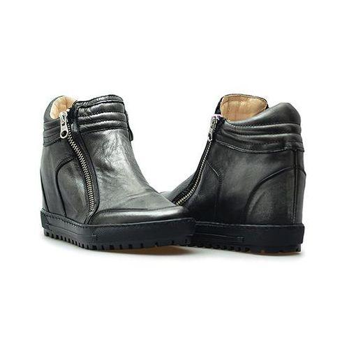 Sneakersy Eksbut 66-4008-E04-1G Czarne/srebrne lico