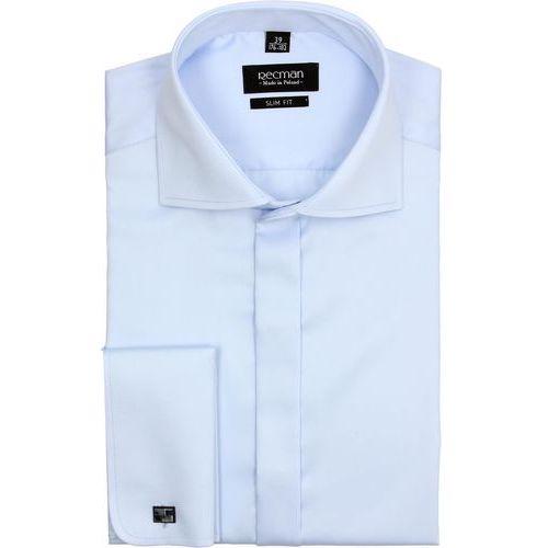 koszula versone 2509 na spinki slim fit niebieski, kolor niebieski