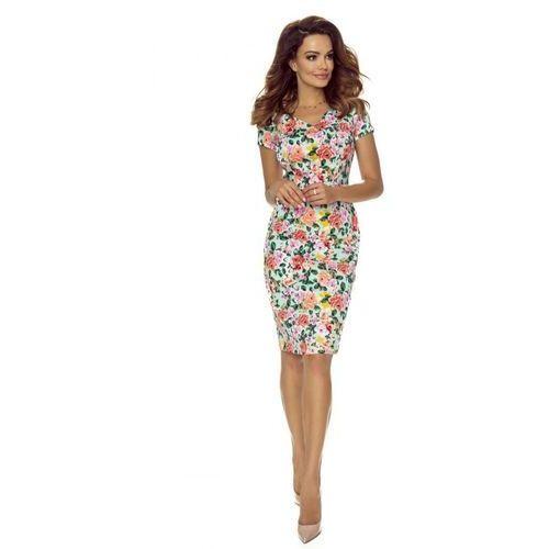 Ołówkowa sukienka w drobne kwiatki z dekoltem w serek