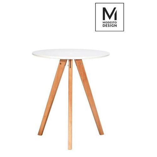 MODESTO stół TRIPOD FI 60 biały - biały, nogi bukowe