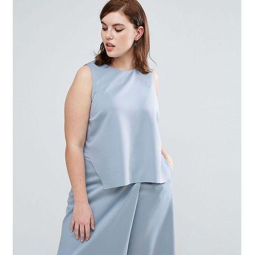 ASOS CURVE Asymmetric Scuba Top - Blue, kolor niebieski