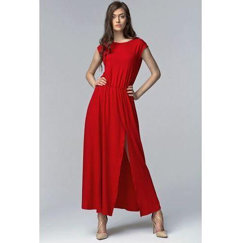 Sukienka MAXI z rozcięciem - czerwony - S61