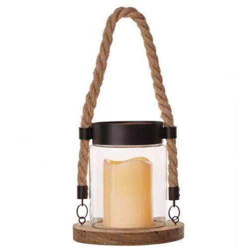 Lampion 1LED na sznurku, 3x AAA, szkło+drewno,vintage, timer EMOS ZY2340, ZY2340
