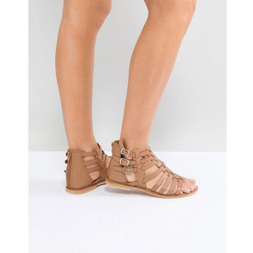 Asos foz leather gladiator flat sandals - tan
