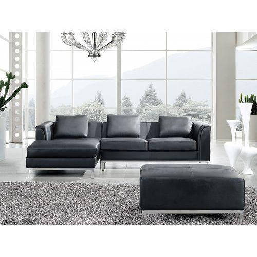 Sofa narożna p – skórzana – czarna - sofa z pufą - kanapa oslo marki Beliani