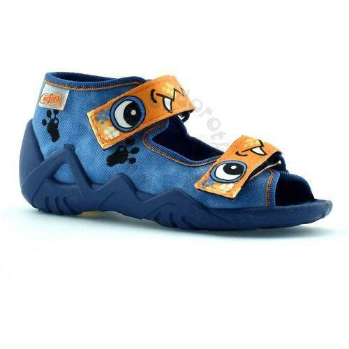 Befado Kapcie dla dzieci 250p056 snake - niebieski   pomarańczowy
