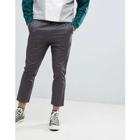 Jack & Jones Cropped Smart Slim Fit Trouser With Drawstring Waist - Grey, slim