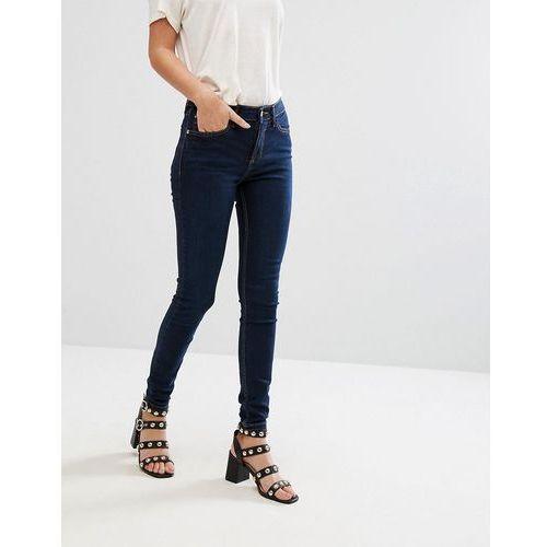 River island amelie mid rise skinny jeans in dark wash - black