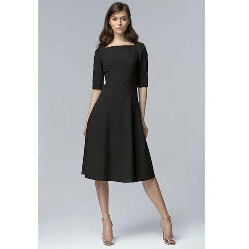 Klasyczna sukienka MIDI - czarny - S63, kolor czarny