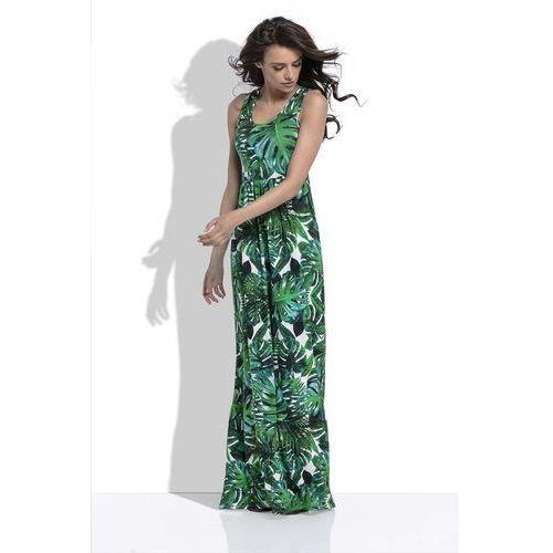 Zielona Długa Letnia Sukienka w Tropikalne Liście