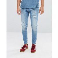 Stradivarius Slim Rip And Repair Jeans In Light Blue - Blue, jeansy