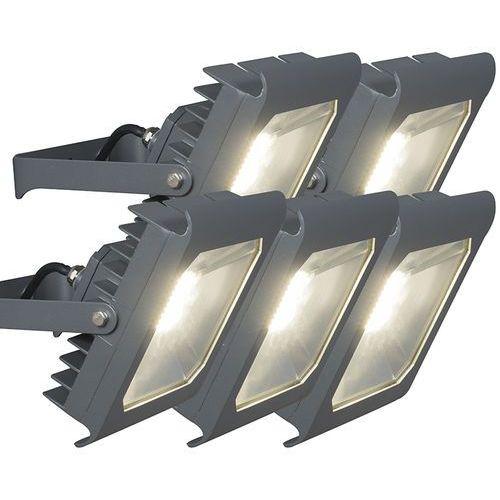 Qazqa Led naswietlacz radius 2 50w ciemno szary 4000k zestaw 5 sztuk