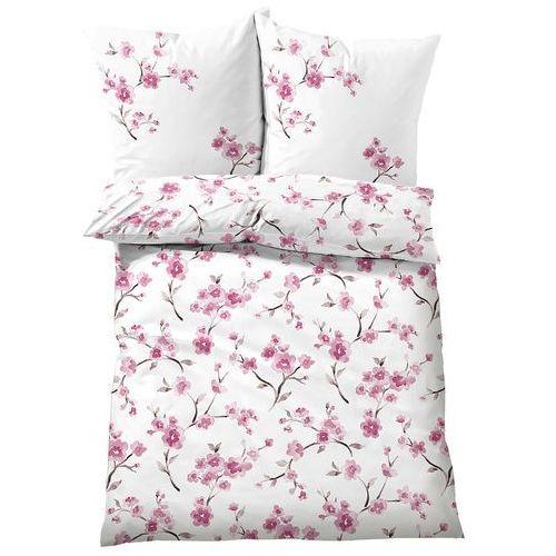 Pościel z nadrukiem w kwiaty wiśni bonprix jasnoróżowy, kolor różowy