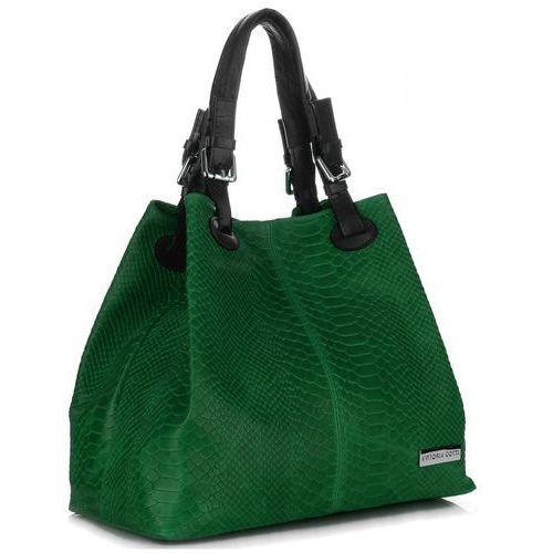 VITTORIA GOTTI Włoska Torebka Skórzana wzór Aligatora Zielona (kolory)