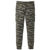 Spodnie bojówki ze stretchem Slim Fit Straight bonprix ciemnooliwkowy moro, kolor zielony