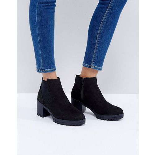 New look  chunky track sole heeled ankle boot - black