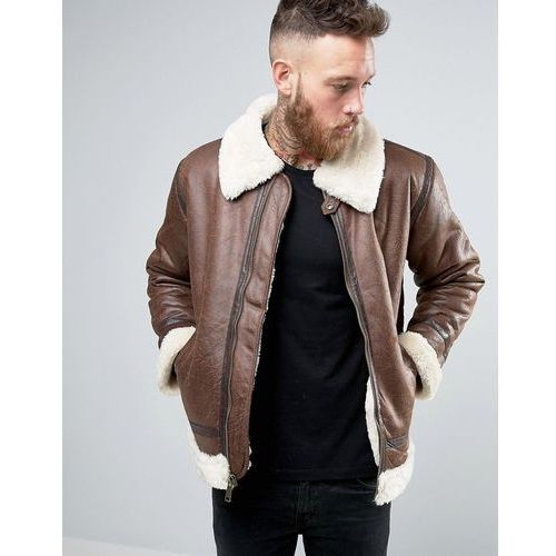 Alpha industries flight jacket in faux leather in regular fit brown - brown