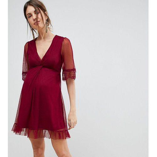 dobby knot front lace trim mini skater dress - purple, Asos maternity