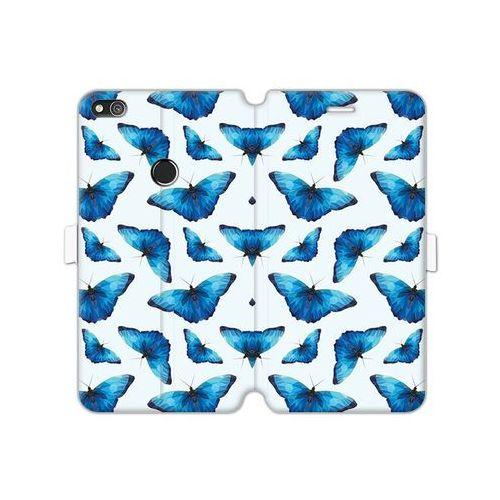 Huawei P8 Lite (2017) - etui na telefon Wallet Book Fantastic - niebieskie motyle, kolor niebieski