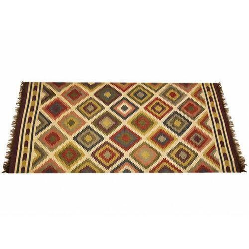Dywan kilimowy tkany ręcznie z wełny i juty CARNAVAL - 200x290cm - Wielokolorowy