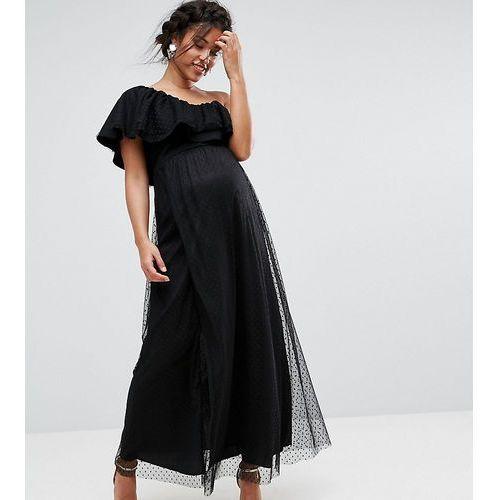 one shoulder maxi dress in dotty mesh - black, Queen bee
