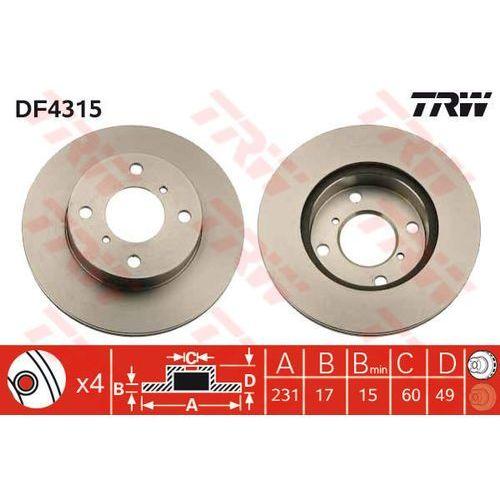 Trw Tarcza ham df4315 suzuki alto iv 1.1 02-, wagon r+ 1.0, 1.2, 1.2 4wd 98-00