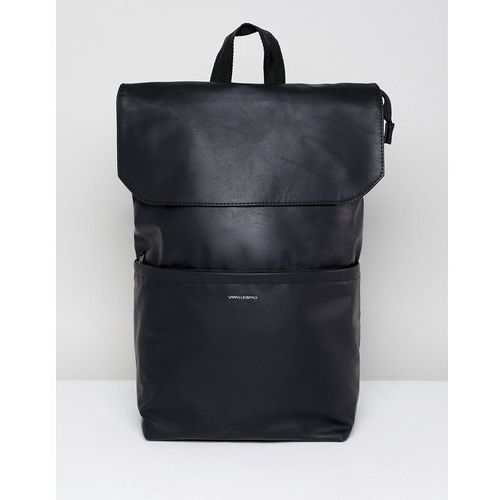 Asos design backpack in faux leather in black with fold top and silver emboss - black