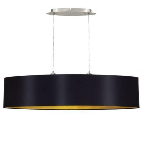 Eglo Lampa wisząca maserlo 31616 zwis żyrandol z abażurem 2x60w e27 czarny/złoty + żarówka led za 1 zł gratis!