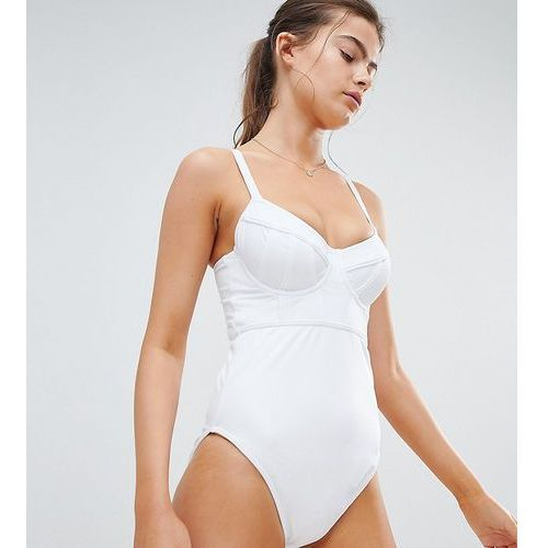 Asos design fuller bust exclusive contour panel underwired swimsuit dd-g - white