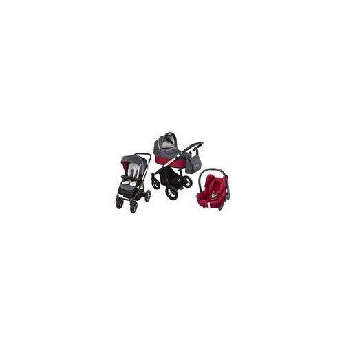 Wózek wielofunkcyjny 3w1 Lupo Husky Baby Design + Cabrio Fix GRATIS (czerwony)