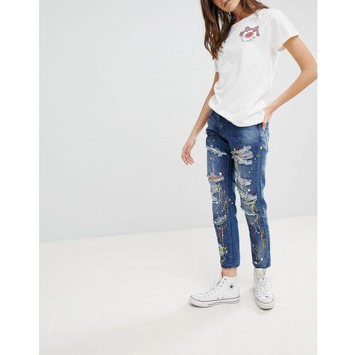 Glamorous Paint Splat Ripped Boyfriend Jeans - Blue, jeans
