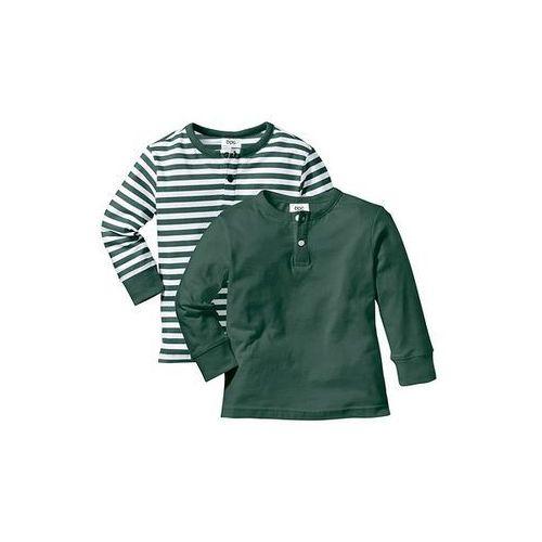 Shirt z długim rękawem i plisą guzikową (2 szt.) bonprix ciemnozielono-biały + ciemnozielony
