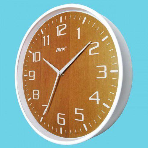 Atrix Zegar ścienny biały drewniana tarcza #2