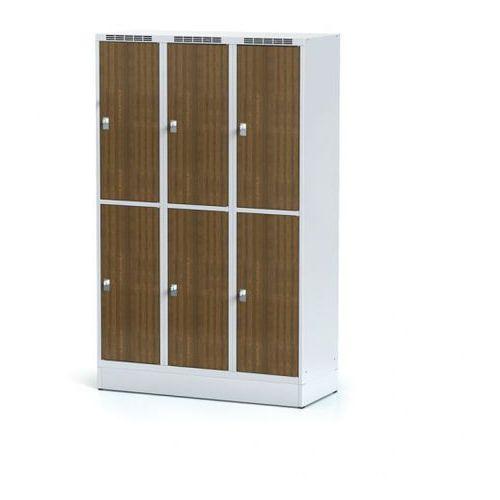 Szafka ubraniowa 6 drzwi, szeroka, na cokole, drzwi LPW, orzech, zamek obrotowy