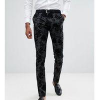 Noose & Monkey TALL Super Skinny Suit Trousers in Flocking - Black, kolor czarny