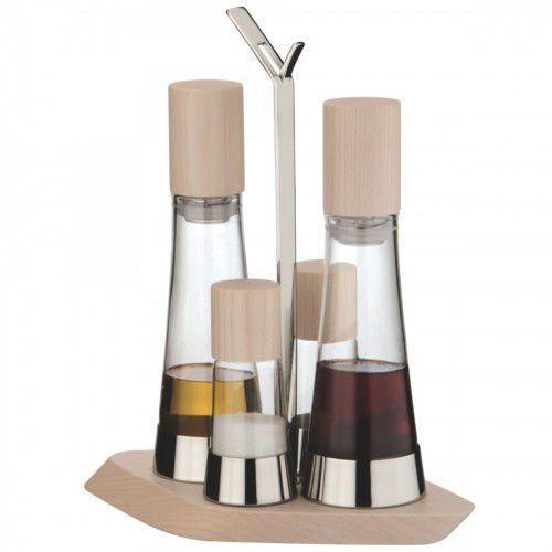 TRATTORIA Zestaw 4 częściowy Olej/ocet + sól i pieprzJASNE DREWNO