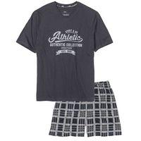 Piżama z krótkimi spodenkami bonprix nocny niebieski - szary z nadrukiem, kolor niebieski
