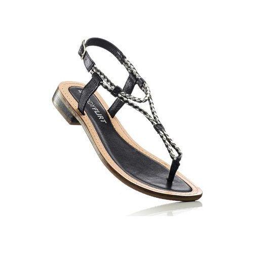 Sandały skórzane bonprix czarny, w 9 rozmiarach
