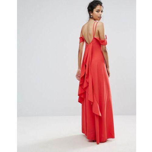 Boohoo ruffle back maxi dress - red